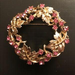 Leaf motif Pink Rhinestone Wreath Brooch *2/$25